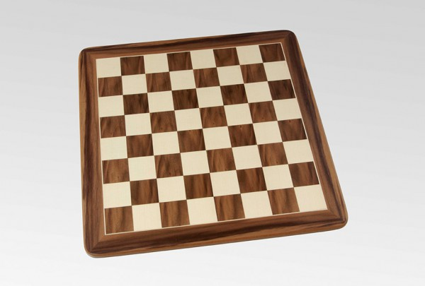 Schachbrett in Nussbaum/Ahorn, 1 Zierader und Rahmen, Feldgröße 45mm