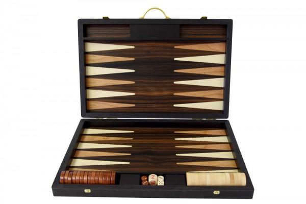 Backgammonkoffer in Makassar Ebenholz, mittel