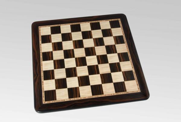 Schachbrett in Makassar Ebenholz/Vogelaugenahorn, 3 Zieradern und Rahmen, Feldgröße 45mm