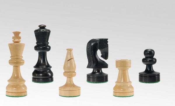 Schachfiguren in Schwarz/Buchsbaum, KH 85mm, gebleit