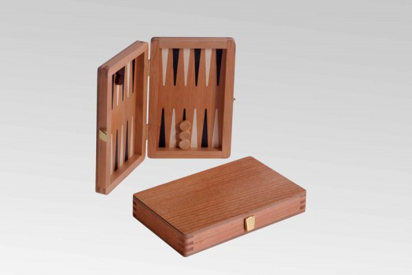 Reisebackgammon in Kirsche, magnetisch