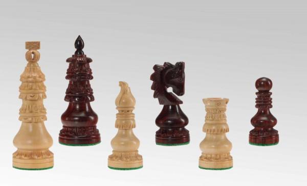 Schachfiguren in Rosenholz/Buchsbaum, handgeschnitzt, KH 95mm