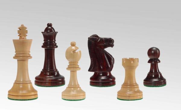 Schachfiguren in Rotholz/Buchsbaum, KH 95mm, doppelt gebleit