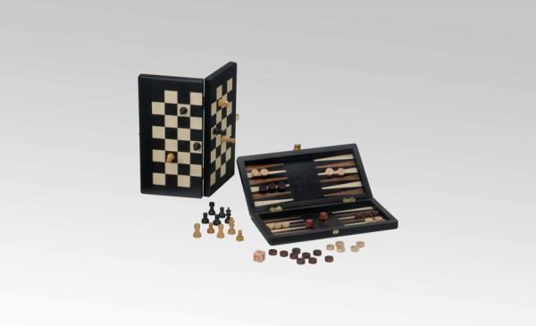 Reisespiel Schach/Backgammon in Schwarz/Ahorn