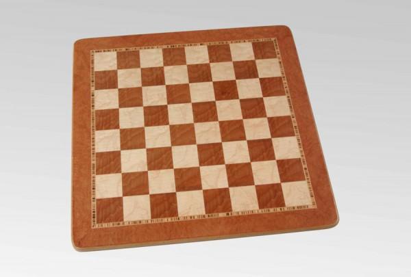 Schachbrett in Rüsterwurzel/Vogelaugenahorn, 3 Zieradern und Rahmen, Feldgröße 45mm