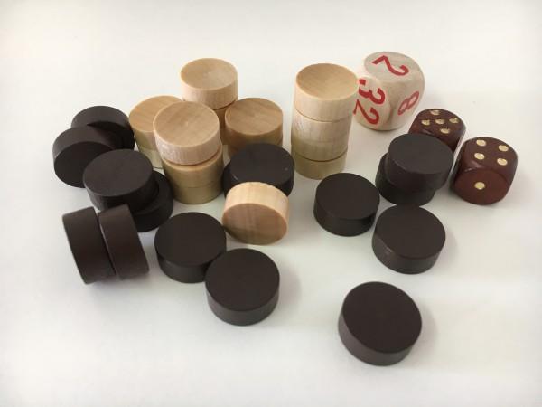 Satz Backgammonsteine im Stoffsäckchen mit Würfeln, braun/weiß, magnetisch