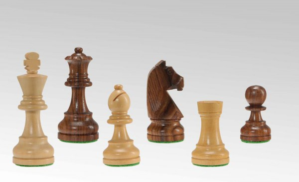 Schachfiguren in Sheesham/Buchsbaum, KH 85mm, gebleit