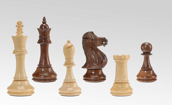 Schachfiguren in Indischem Palisander/Buchsbaum, handgeschnitzt, KH 105mm, gebleit