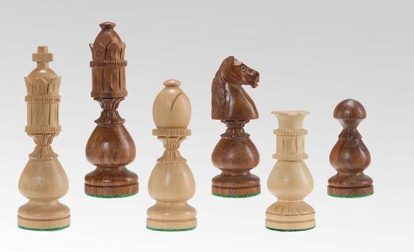 Schachfiguren in Sheesham/Buchsbaum, handgeschnitzt, KH 105mm, gebleit