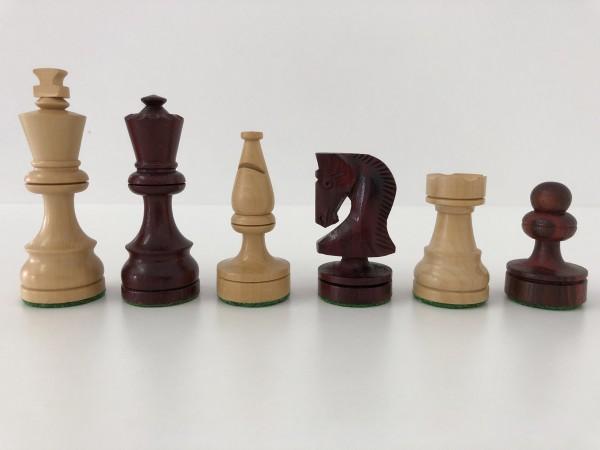 Schachfiguren in rötlichem Holz/Buchsbaum, KH 85mm, gebleit