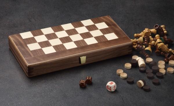Reisespiel Schach/Backgammon in Nussbaum/Ahorn