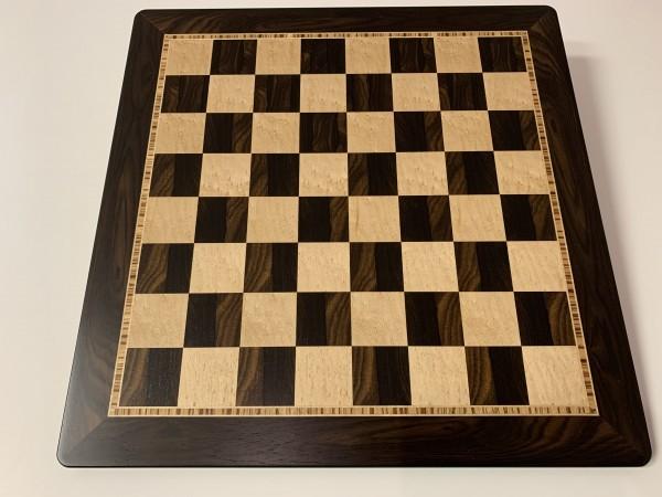 Schachbrett in Ziricote/Vogelaugenahorn, 3 Zieradern und Rahmen, Feldgröße 50mm