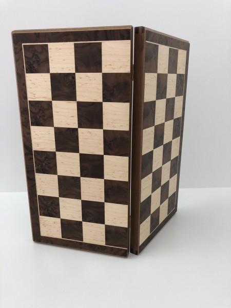 Schachkassette Nusswurzel/Vogelaugenahorn, 45mm Feldgröße