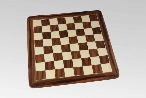 Schachbrett in Nussbaum/Ahorn, 1 Zierader und Rahmen, Feldgröße 50mm
