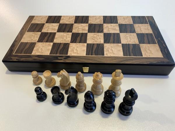 Schachkassette Ziricote/Vogelaugenahorn, Feldgröße 45mm