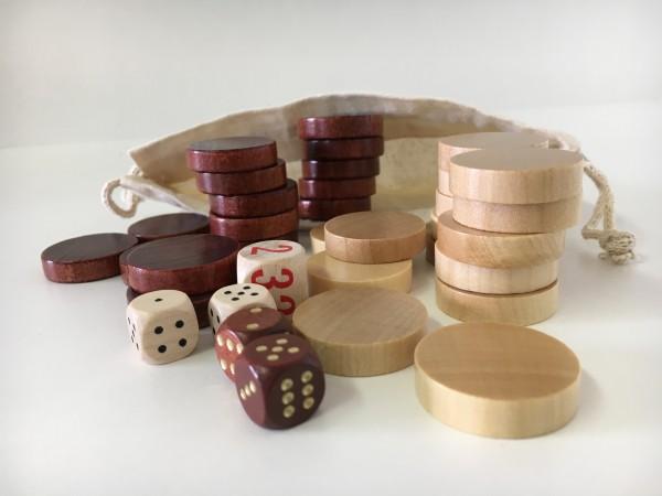 Satz Backgammonsteine im Stoffsäckchen mit Würfeln, braun/weiß, mittel