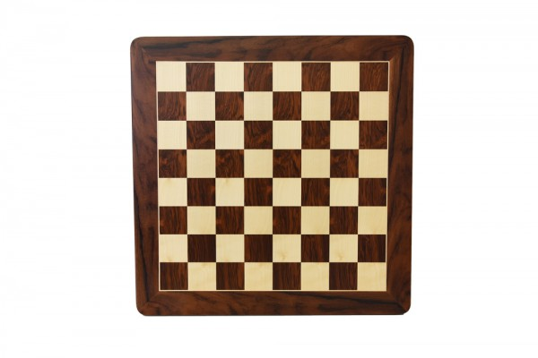 Schachbrett in Jatoba/Ahorn, 1 Zierader und Rahmen, Feldgröße 50mm