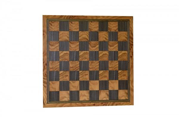 Schachbrett in Eiche/Grau, 3 Zieradern und Rahmen, Feldgröße 50mm