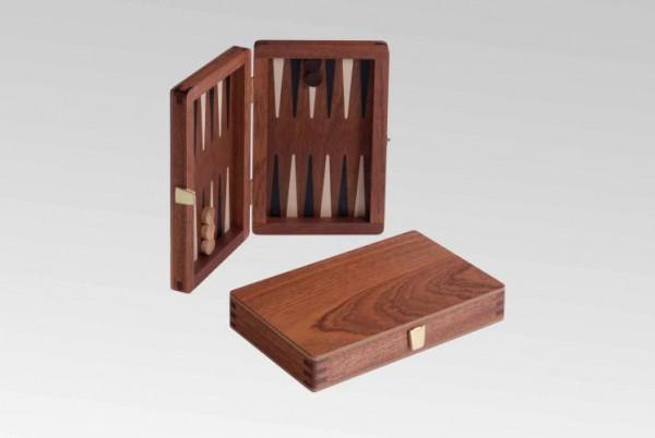 Reisebackgammon in Mahagoni, magnetisch