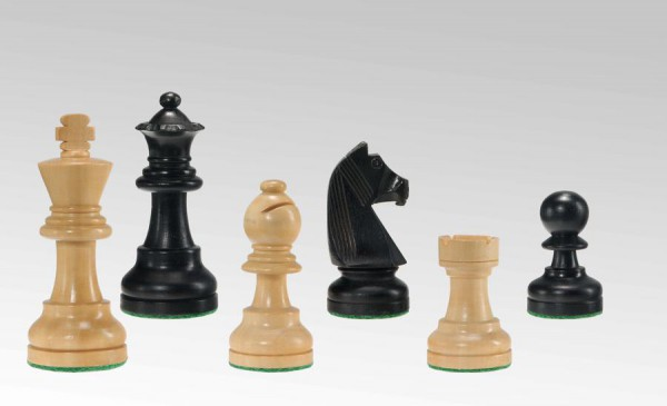 Schachfiguren in Schwarz/Buchsbaum, KH 75mm, gebleit