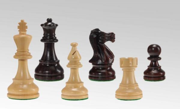 Schachfiguren in Sheesham/Buchsbaum, KH 95mm, doppelt gebleit