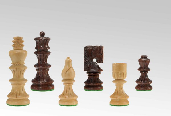 Schachfiguren in Sheesham/Buchsbaum, handgeschnitzt, KH 75mm, gebleit