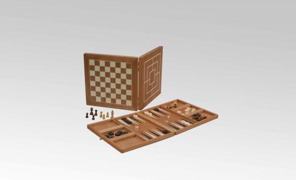 Spielesammlung in Kirsche, groß mit Schach, Dame, Mühle, Backgammon